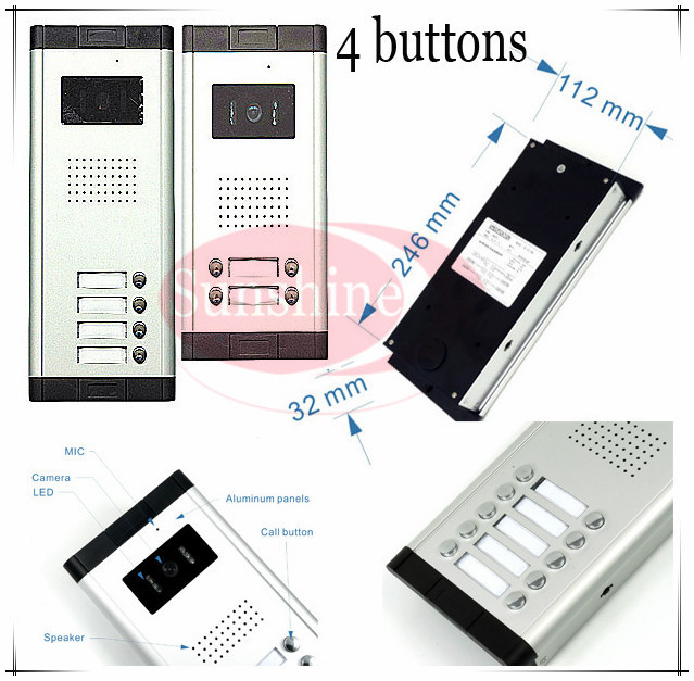 Outdoor camera CCD lens outdoor unit Video door phones intercom systems with 4 buttons for 4 office/villas/apartments/Hotles ccd lens outdoor camera video door phones intercom systems door bells with 10 buttons for 10 apartments hd camera drop ship
