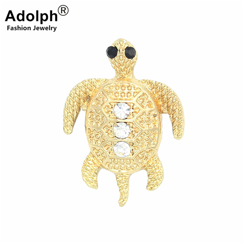 ADOLPH Star Jewelry Gold Color Tortoise Brooch Pins For Woman Clothers Dress Bride Animal Broochs Fashion Accessories Female Hot