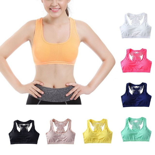 e79f6a2753 Sports Bra Women Yoga Top Padded Underwear Butterfly Back Quick Dry  Seamless Fitness Gym Running Sport Yoga Shirts Soutien gorge