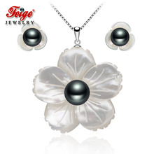 Vintage Flower Shell Pearl Jewelry Sets for Wome Gift 925 St