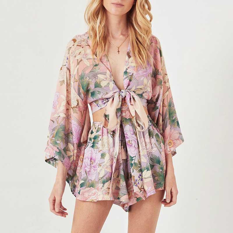 8dc318c501a1 Boho Inspird Gypsy Lily Kimono Tie Top rayon bohemian sashes wrap summer  beach blouses shirts women