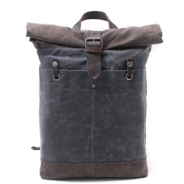 Melodycollection Man OilSkin Bags Batik Waxed Canvas Rucksack Backpack Roll  up top bag men s waterproof out door travel Daypack 759781171d