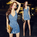 Women Denim Dress 2016 Summer Casual Fashion Vintage Frayed Double Breasted Sexy V Neck Sleeveless Slim Blue Jeans Dress 1111
