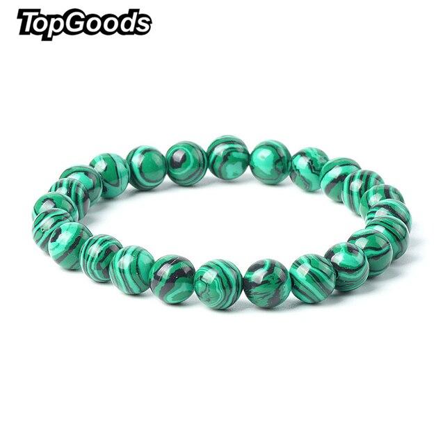TopGoods 2018 Natural Green Malachite Bracelet Bead Stone Antique Charms Bracelet 8mm Gemstone Jewelry Bracelets for Women Men