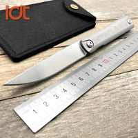 Cuchillo plegable LDT Zebra MS2 S35VN cuchilla de titanio TC4 cuchillos con mango de cerámica rodamiento de bolas táctico de supervivencia cuchillo de Camping herramienta EDC