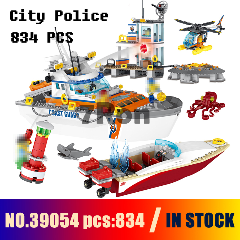 Compatible with lego 41180 Models building toy 39054 834Pcs City Police Coast Guard Headquarters Building Blocks toys & hobbies city architecture mini street scene view reims cathedral police headquarters library fire departmen building blocks sets toys