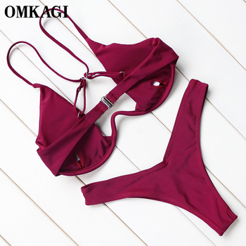 OMKAGI Brand Brazilian Bikini 2018 Swimwear Women Swimsuit Sexy Push Up Underwire Swimming Bathing Suit Beachwear Bikinis Set 5