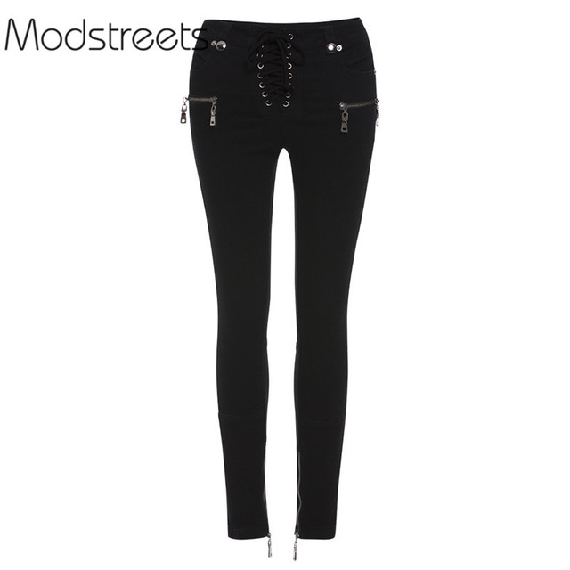 eca6ddda07e7fe Modstreets 2019 Warm Jeans Girls Skinny Palin High Waist Black Jeans Women  Spring Ankle Length Denim Pencil Pants Zipper Lace-up