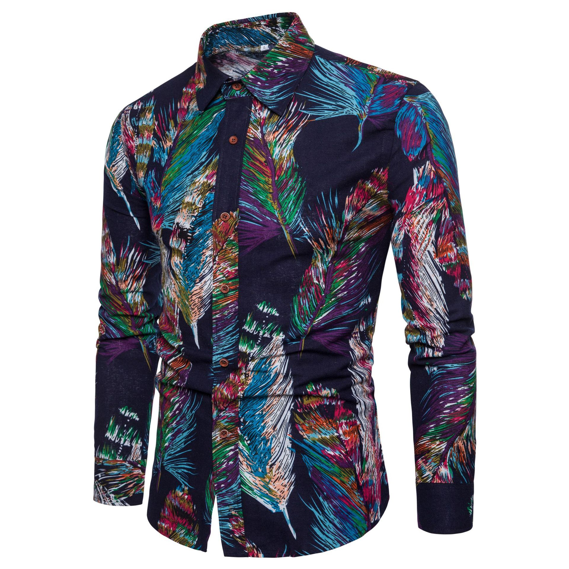 Men Shirt 2020 Spring Autumn Long Sleeve Flower Print Hawaii Shirt Camisa Masculina Brand Male High Quality Dress Shirt
