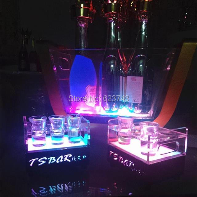 rechargeable multicolor Plastic  led shot glass holder (27)