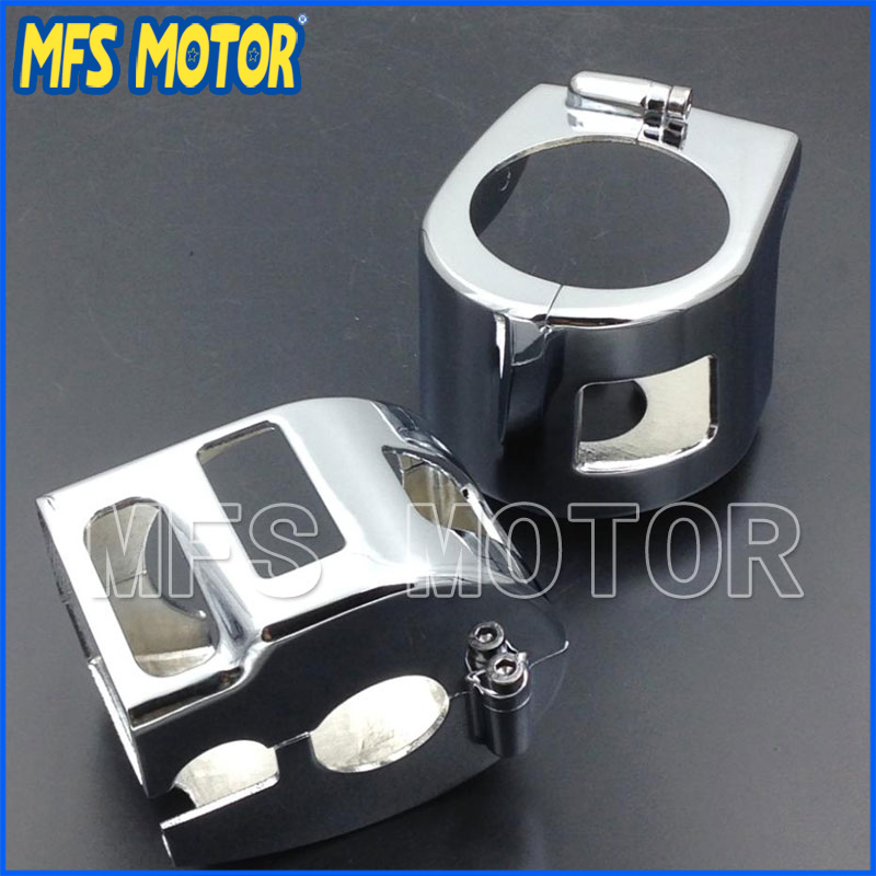 For Motorcycle Yamaha V-Star XVS 650 Classic Silverado models CHROME Switch Housing Cover Motorcycle Part front rear brake discs rotors for yamaha xvs 1100 v star classic a as 04 05 06 07 08 09 silverado 03 xv 1700 road star warrior