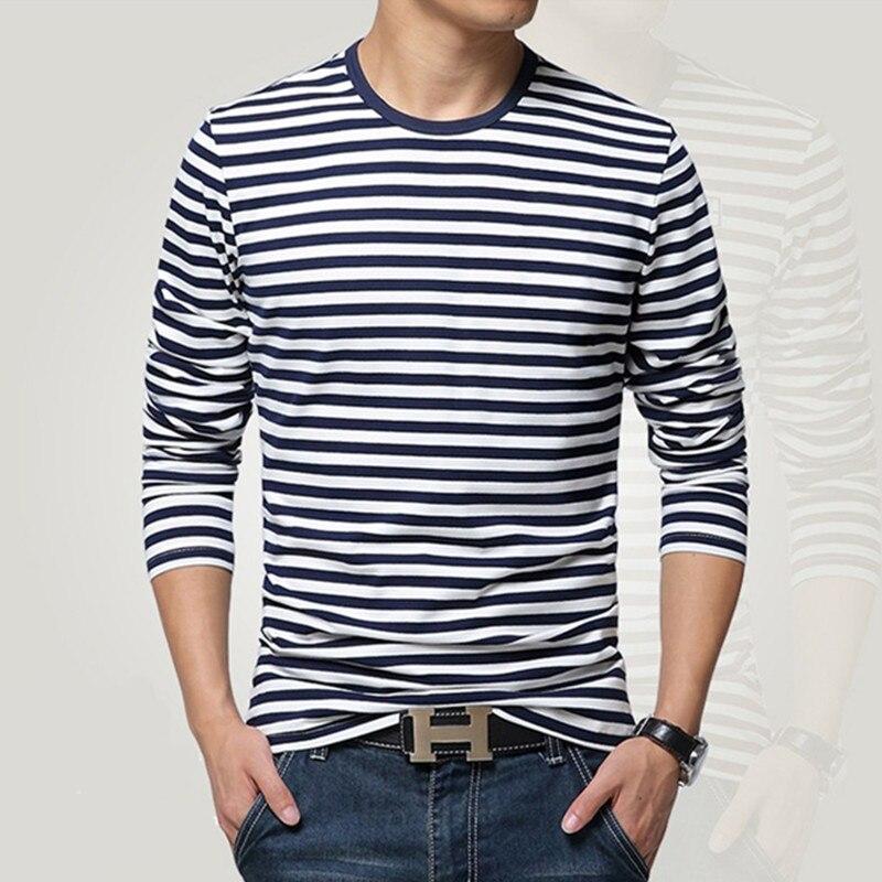Style marine à manches longues chemise hommes T-shirt d'o-cou bande t shirt hommes chemise marine vintage de base 95% coton chemise