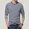 Estilo de la marina de guerra camisa de manga larga hombres Camiseta de la raya del o-cuello camiseta de los hombres camisa azul marino de la vendimia camisa básica de algodón 95%