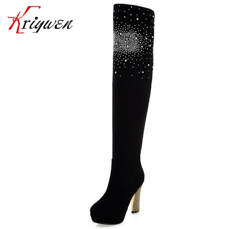 ФОТО Size 34-39 New Fashion Sexy High Heel Knee High Boots Summer round toe Boots Women Black Flock Leather crystal party shoes