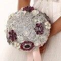 De lujo Hecho A Mano de calidad Superior Broche de novia ramo de Novia de la boda novias piedras Artificial violeta púrpura 8594G