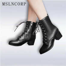 Plus Size 34-45 Autumn Winter Women boots High heels Lace-Up Ladies Sapatos Martin Leather boots Square heel Snow Boots Shoes kebeiority plus size 33 43 knee high lace up boots women high heel autumn boots shoes woman leather high leg martin boots 2017