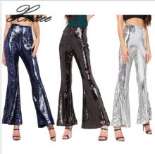 Women Sequined Boho High Waist Wide Leg Pants New Fashion Long Flared Bell Bottom Pants scallop waist asymmetric flared pants