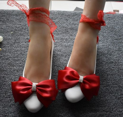 Red bow bowtie flats shoes woman ladies girl sweet hamade lace riband straps red party dancing