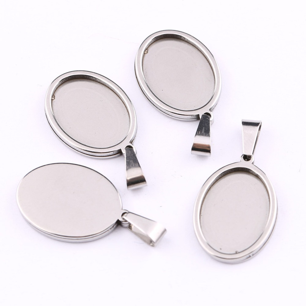 onwear 5pcs stainless steel 13x18mm dia oval cabochon base setting diy blank cameo pendant trays for jewelry making mibrow 10pcs lot stainless steel 8 10 12 14 16 18 20mm blank french lever earring tray cabochon setting cameo base jewelry