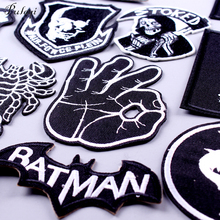 Pulaqi Black Rock Stripe Fingers Patch Embroidered Iron On Patches for Clothing Skull Badges Punk Stickers Applique F