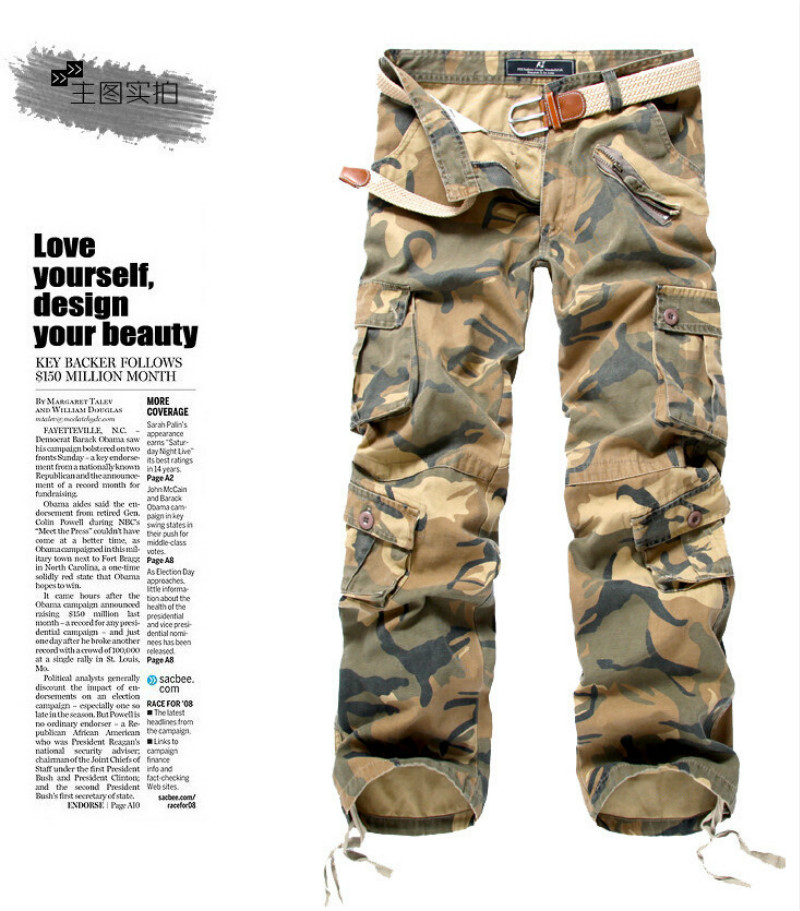 en's Multi-Pocket Casual Camouflage Pants Men Military Cargo Pants Washed Trouers Loose Pants For Men New Arrival