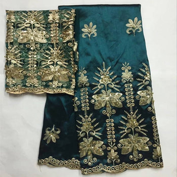 5+2 Yards Green Color African George Satin Silk Lace Sequins design Silk George fabric Match Tulle French Lace 30 фото