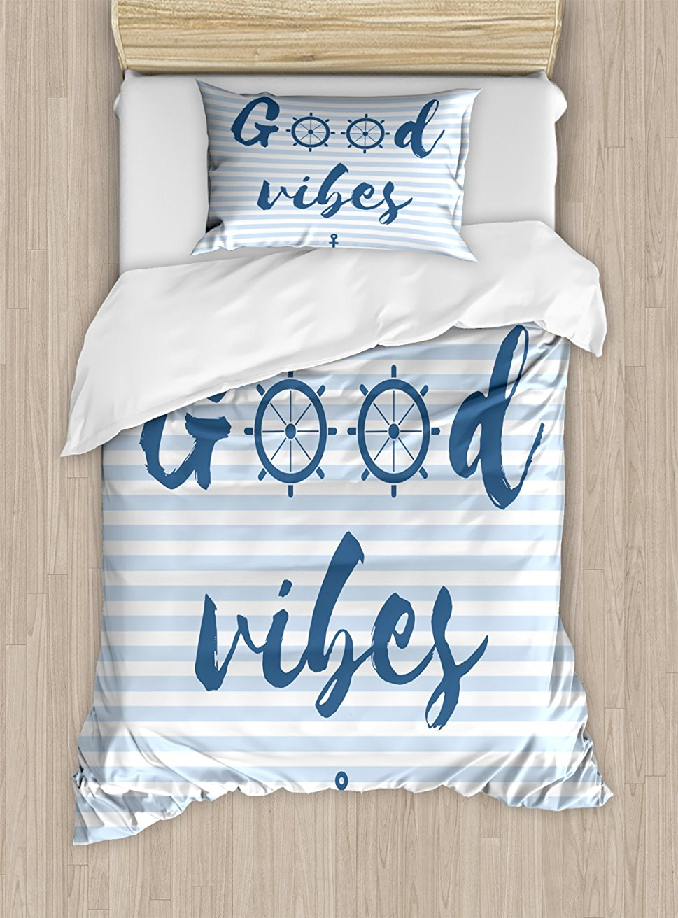 Good Vibes Duvet Cover Set , Nautical Design with Stripes Brushstrokes Steering Wheels Anchor Icon, 4 Piece Bedding Set