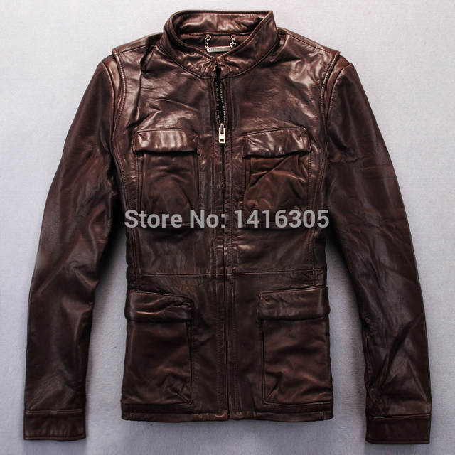 Skórzana kurtka 2014 Nowe szczegóły mody Vintage Damska