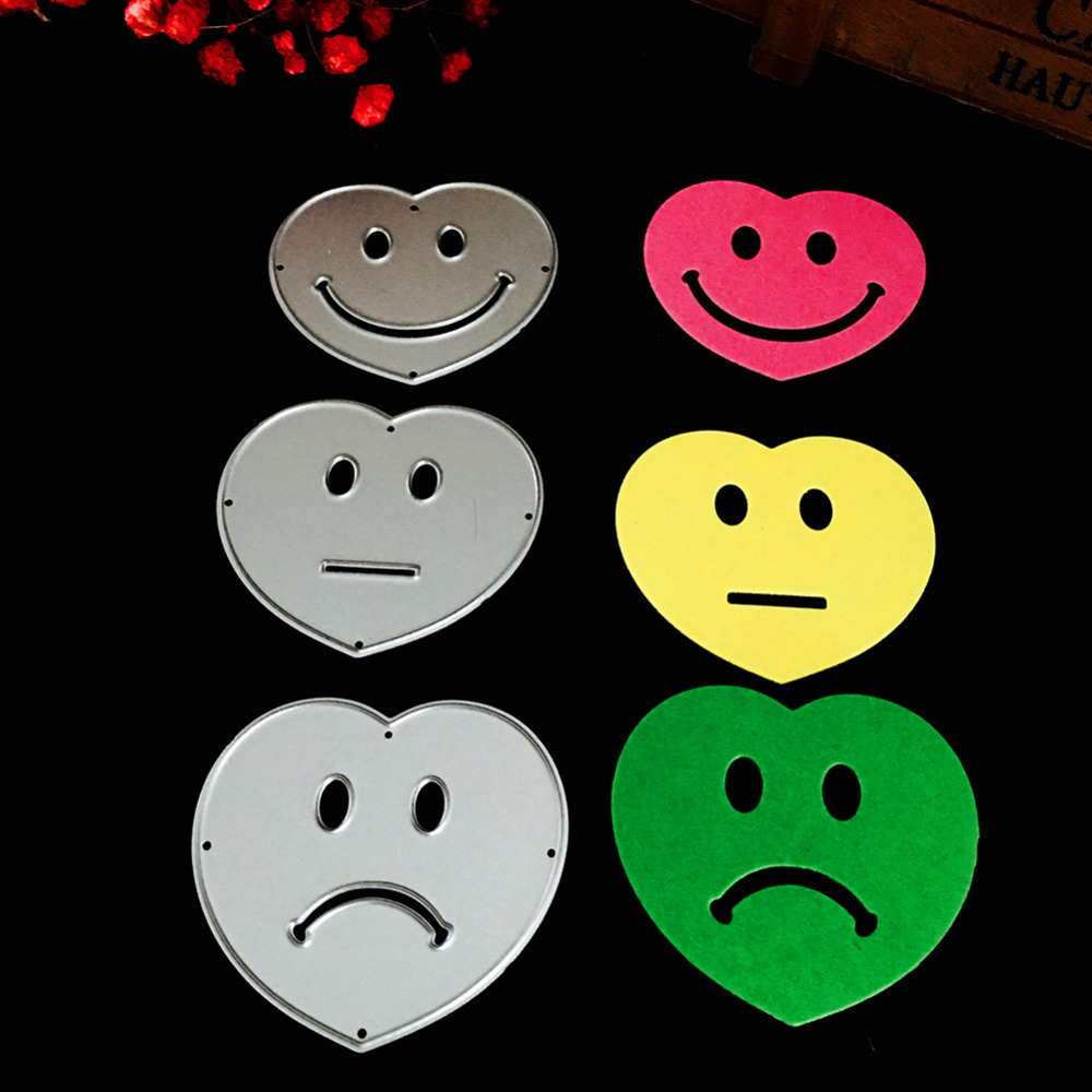 48*44mm scrapbooking DIY 3pcs love smile Shape Metal steel cutting die flower Shape Book photo album art card Dies Cut