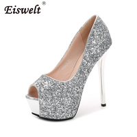 EISWELT Women New Super High Heel Bling Wedding Pumps 14cm Peep Toe Sweet Sexy Party Shoes