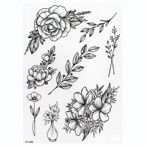 Waterproof Temporary Tattoo Sticker Lotus Rose Pattern Water Transfer Under Breast Shoulder Flower Body Art Fake Tatoo