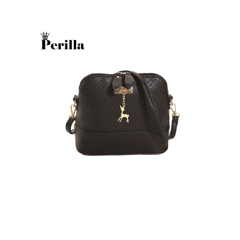 Perilla Brand Women Messenger Bags Fashion Mini Bag With Deer Toy Shell Shape Bag Women Shoulder Bags Female Shopping Handbag fashion women mini messenger bag pu leather shell shape bag crossbody shoulder bags with deer toy popular