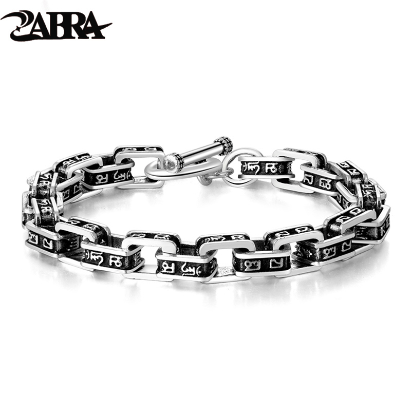ZABRA Solid 925 Sterling Silver Buddha Bracelet Men Six word Mantra High Polished Retro Black Handmade
