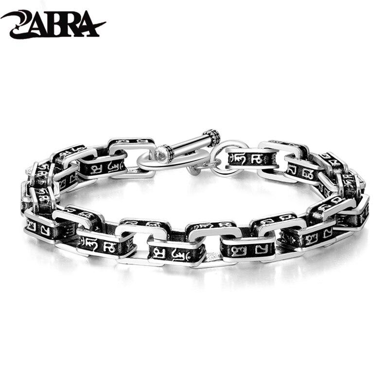 цена на ZABRA Solid 925 Sterling Silver Buddha Bracelet Men Six-word Mantra High Polished Retro Black Handmade Jewelry For Male