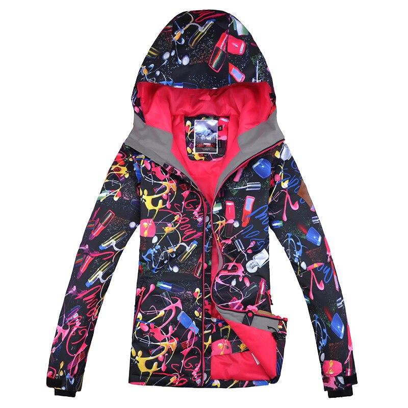 Prix pour Gsou snow femmes veste ski snowboard coupe-vent imperméable à l'eau en plein air vêtements de sport camping équitation nouveau style chaud épaississent vêtements
