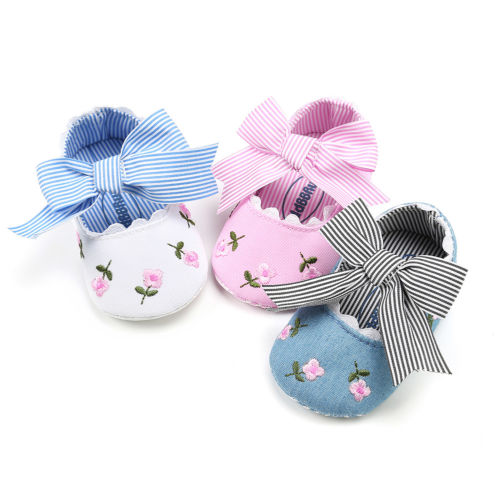 Emmababy Baby Shoes New Infant Toddler Girls Princess Moccasins Soft Floral Print Bow
