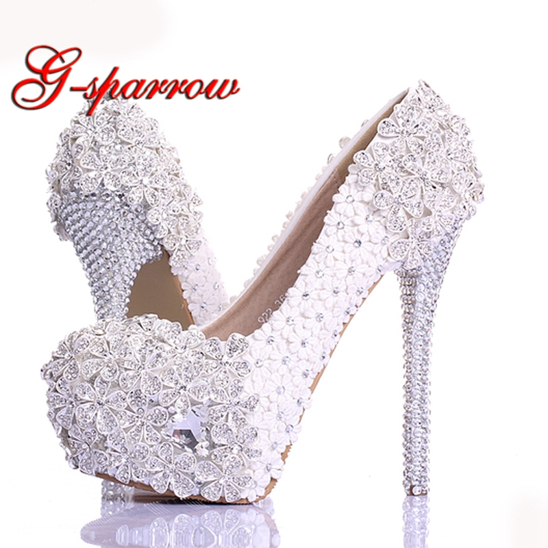 Spring White Lace Flower Rhinestone Wedding Shoes 2018 Newest Design Luxury Handmade High Heel Bridal Shoes