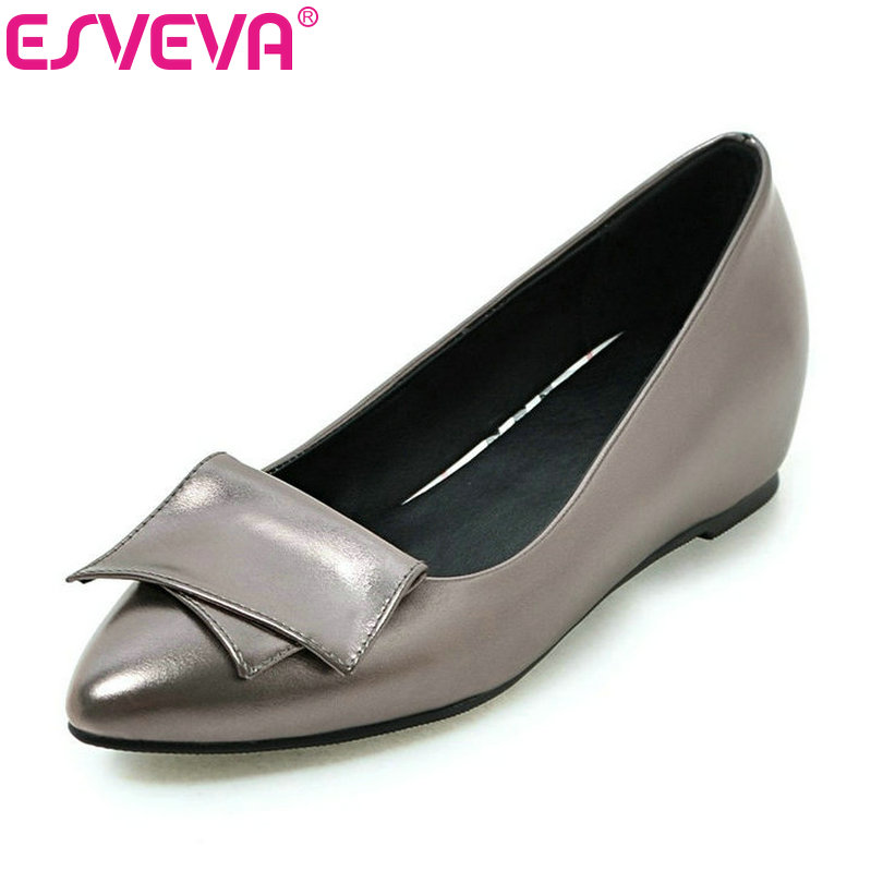 ESVEVA 2017 Women Pumps Autumn Slip on Wedding Shoes Women Elegant Pointed Toe PU Spring Shoes Square Low Heel Pumps Size 34-43 red spring autumn women s low heel pumps flock plain pointed toe shallow slip on ladies casual single shoes zapatos mujer black