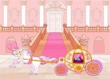 Carruagem cinderela Princesa do conto de fadas rosa Vinil pano de fundo pano de Computador impresso fundo da festa de Aniversário do chuveiro de bebê