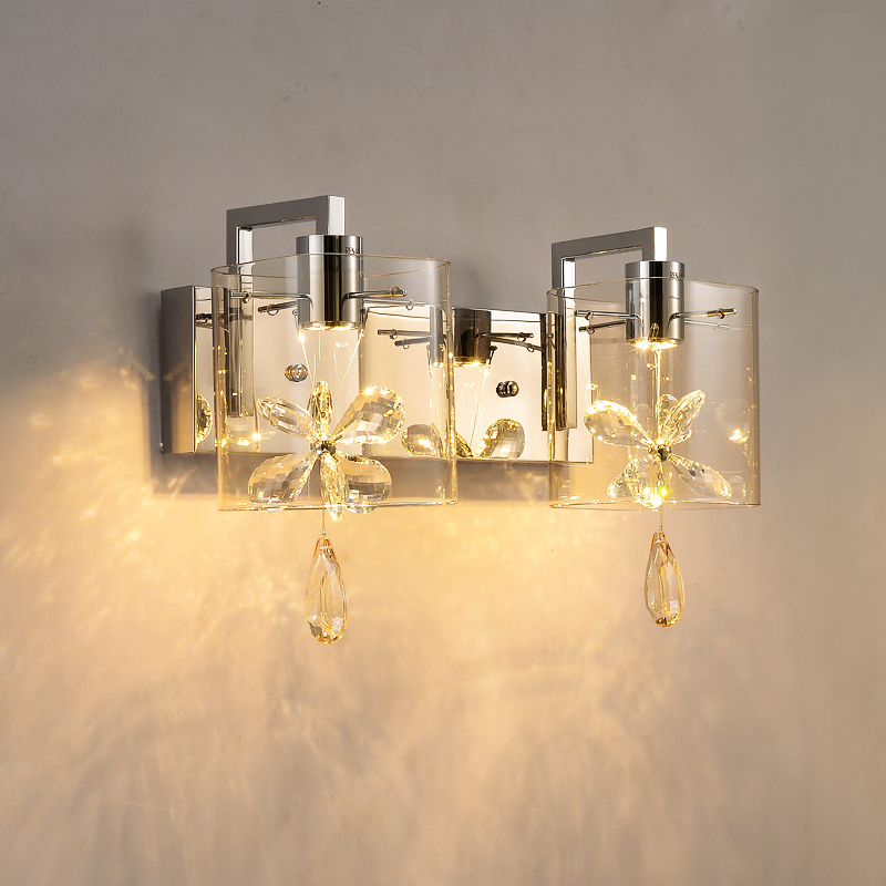 Crystal lamp modern minimalist creative personality living room bedroom wall led bedside lamp aisle stairs lighting fixture creative bedside wall lamp modern minimalist rectangular corridor balcony living room bedroom background lighting fixture