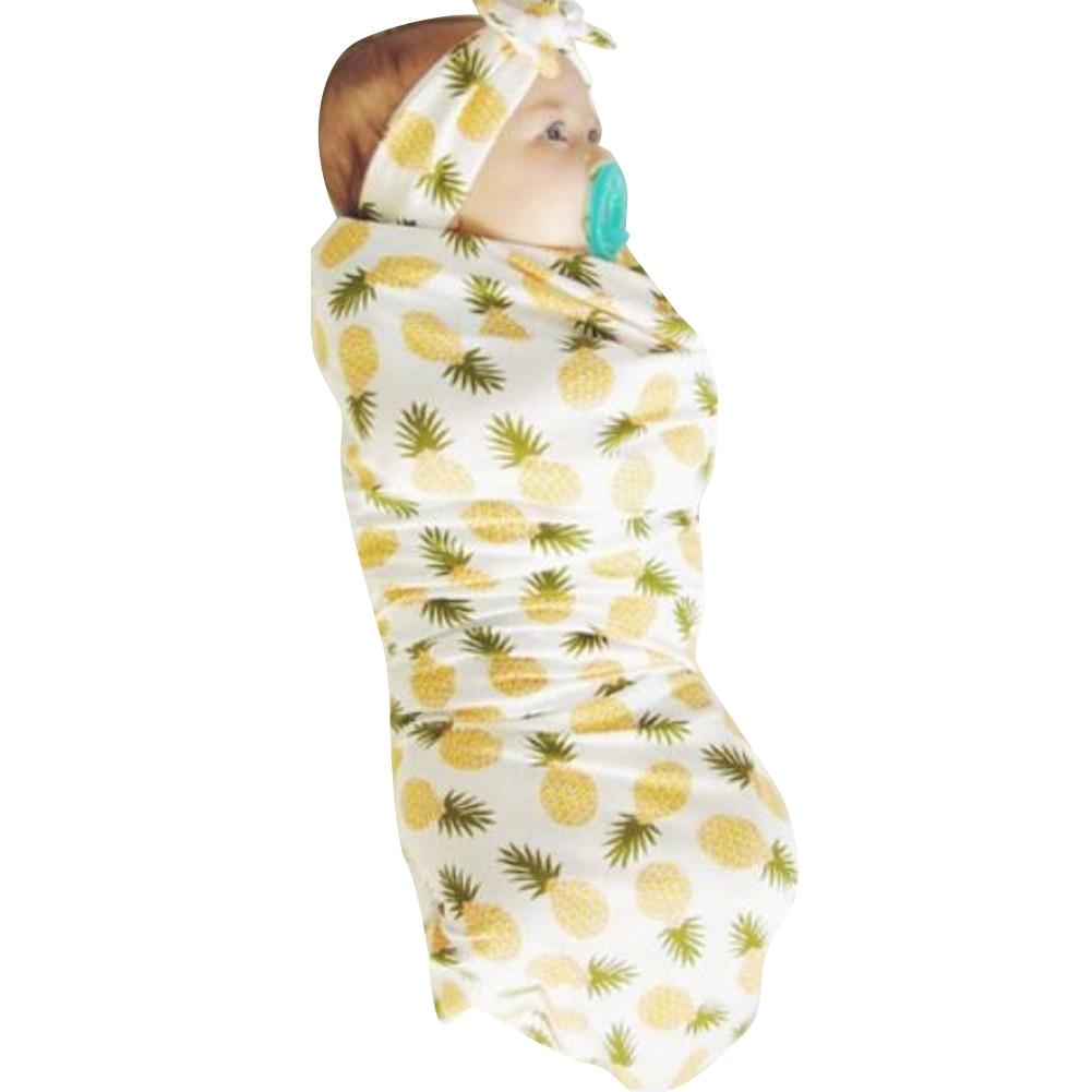 Soft Baby Infant Swaddling with Headband Newborn Baby Swaddle Wrap Pineapple Print Blanket Swaddling with Headband Headwear