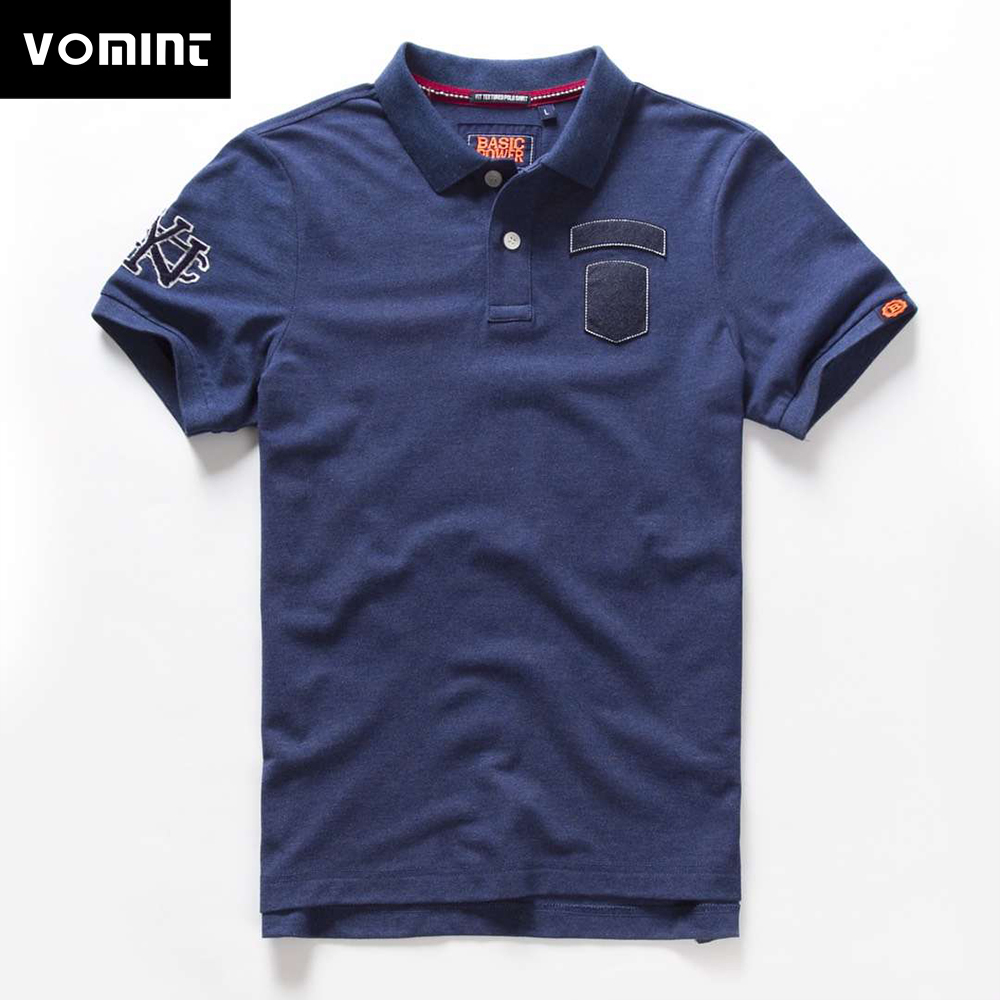 Vomint 2019 Summer New Mens Cotton   Polo   Shirts Short Sleeve Letter Embroidered Emblem For Male fashion Poloshirts BP6909