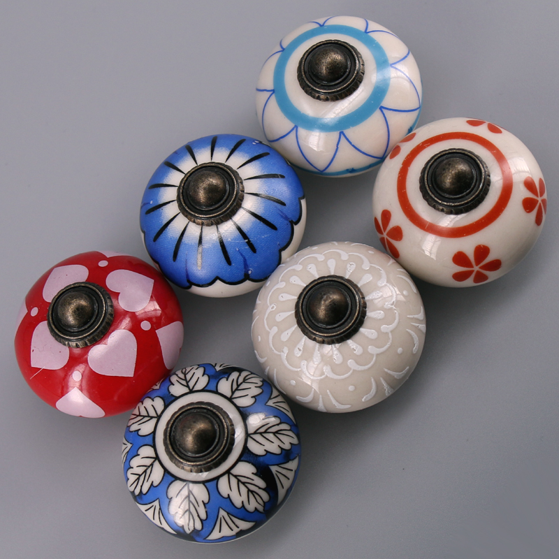 1x assorted art knobs multi color ceramic drawer door cupboard pulls affordable home decor