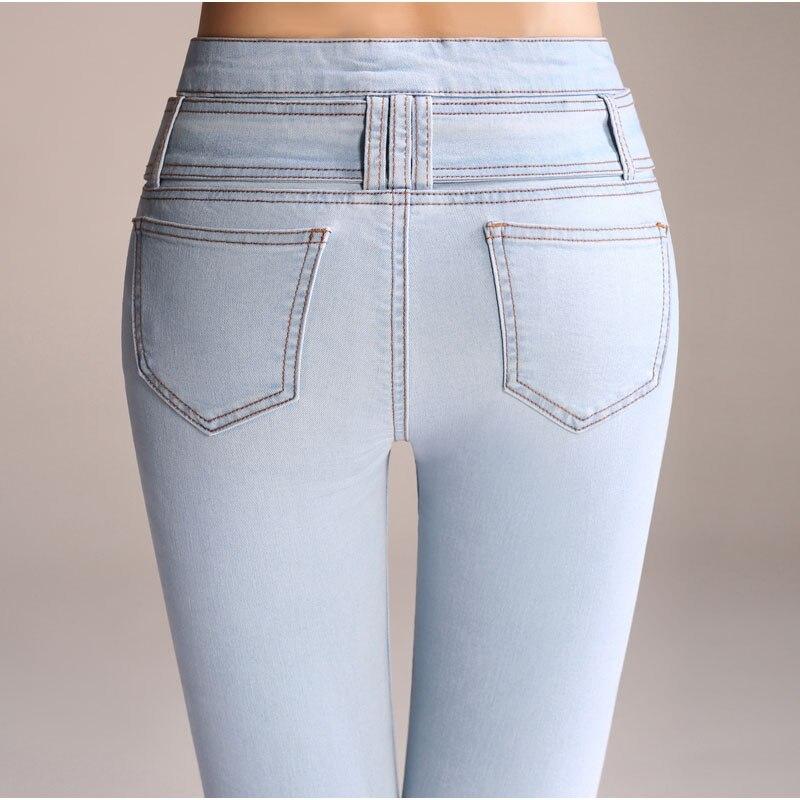 Libre Bleu Pantalon De Flare Blue Haute Ceinture Large Slim Denim Femme  Jeans Taille Fermeture Light ... efa9b7271a7