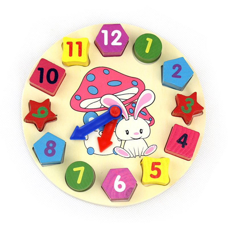 Colorful Clock Shape Wooden Building Blocks Toy Digital Geometry Clock For Children Baby Kid Education Toys Gifts @ZJF heart shape ru bun lock children puzzle toy building blocks