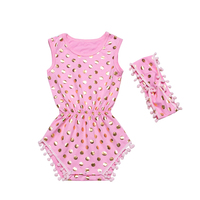2016 Baby Girl Infant Romper Clothing Sets Pink Polka Dot Bebe Birthday Costumes Dress Up Clothes
