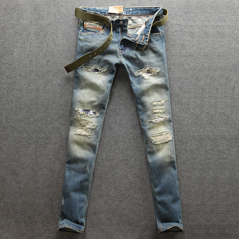 2018 Newly Fashion Men Jeans Retro Blue Color Ripped Jeans Denim Casual Pants Straight Fit 100% Cotton Big Size Brand Jeans Men