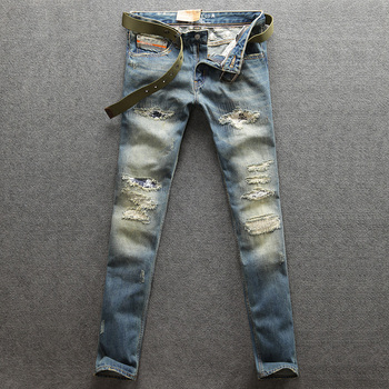 2018 Newly Fashion Men Jeans Retro Blue Color Ripped Jeans Denim Casual Pants Straight Fit 100% Cotton Big Size Brand Jeans Men orange button fly dsel brand fashion designer jeans men straight blue color printed mens jeans 100