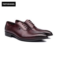 Echtes Leder Mens Dress Schuhe Männlich Lace Up British Flügel spitze Spitz Retro Schuhe Formalen Schuh Heren Schoenen Top qualität