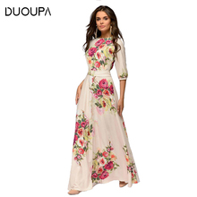 DUOUPA Summer Dress Women 2019 New Sexy Casual A-Line Sashes Print Floral Party Dresses Vintage O-Neck Boho Long Vestidos